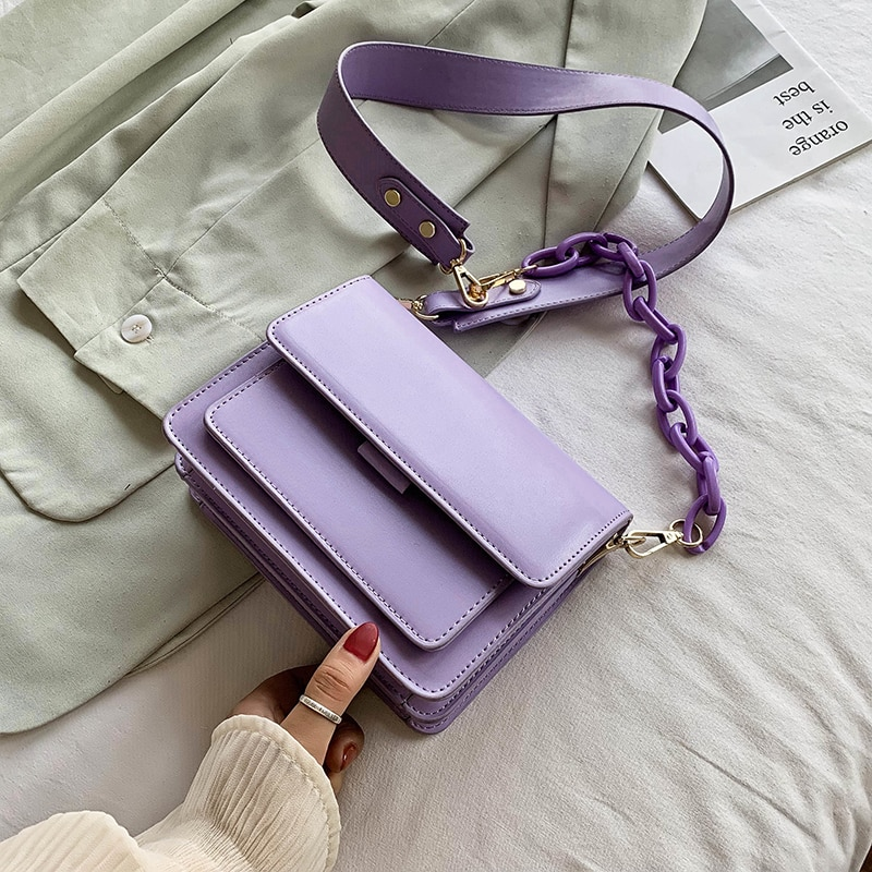 Chain Design New Mini PU Leather Flap Bags For Women 2021 Summer Lady Shoulder Handbag Female Beautiful Fashion Cross Body Bag