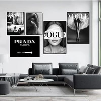modern black white fashion coco women canvas painting sexy heel letter print vogue poster art wall picture for living room decor