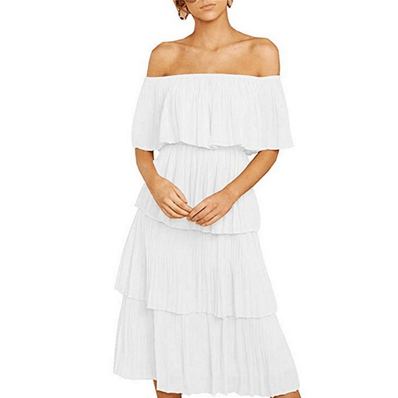 2019 Fashion Women White Boho Off Shoulder Short Sleeve Evening Party Beach Midi Sundress