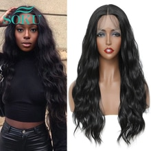 Synthetic Lace Wig Black Color Long Wavy Wigs With Baby Hair Middle Part Hair Ombre Brown Lace Wig For Black Women SOKU