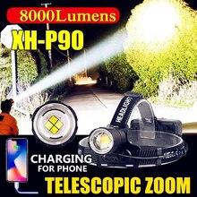 Linterna frontal led Z40 de 8000 lúmenes XHP90 para pesca, Camping, linterna de alta potencia, linterna frontal, linterna con zoom USB, linterna 18650