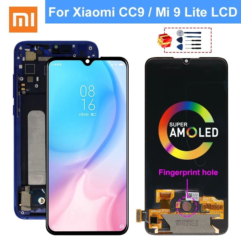 Дисплей AMOLED 6,39 дюйма для Xiaomi Mi 9 Lite, ЖК-дисплей MI CC9, сенсорный экран с дигитайзером для MI CC9, сменные детали