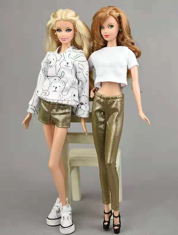 2 пары в партии, модные 1/6 Кукла одежда для девочки из мягкой искусственной кожи (PU кожаные штаны шорты брюки для куклы Барби одежда плавки 1/6 ...