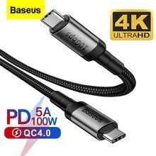 Baseus USB 3.1 유형 C-MacBook Pro 100W PD 용 USB C 케이블 빠른 충전 4.0 3.0 삼성 S10 S9 용 USBC 충전기 Huawei P30 P20