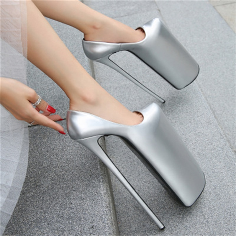 Plus Size 35-44 45 46  Woman Nightclub Catwalk Round Toe 30cm High-heeled Shoes 21cm Platform Stiletto female Pumps Ladies Shoes