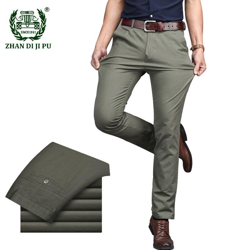 Homens terno calças de negócios de alta qualidade casual vestido longo calça masculina clássico em linha reta escritório formal calças masculinas tamanho grande 29-42