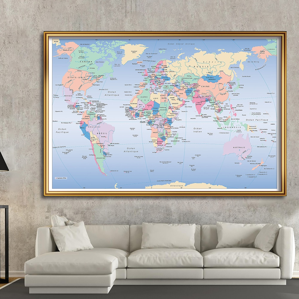 225*150cm The World Map In French Large Poster Non-woven Canvas Painting Wall Decor Home Decoration Children School Supplies