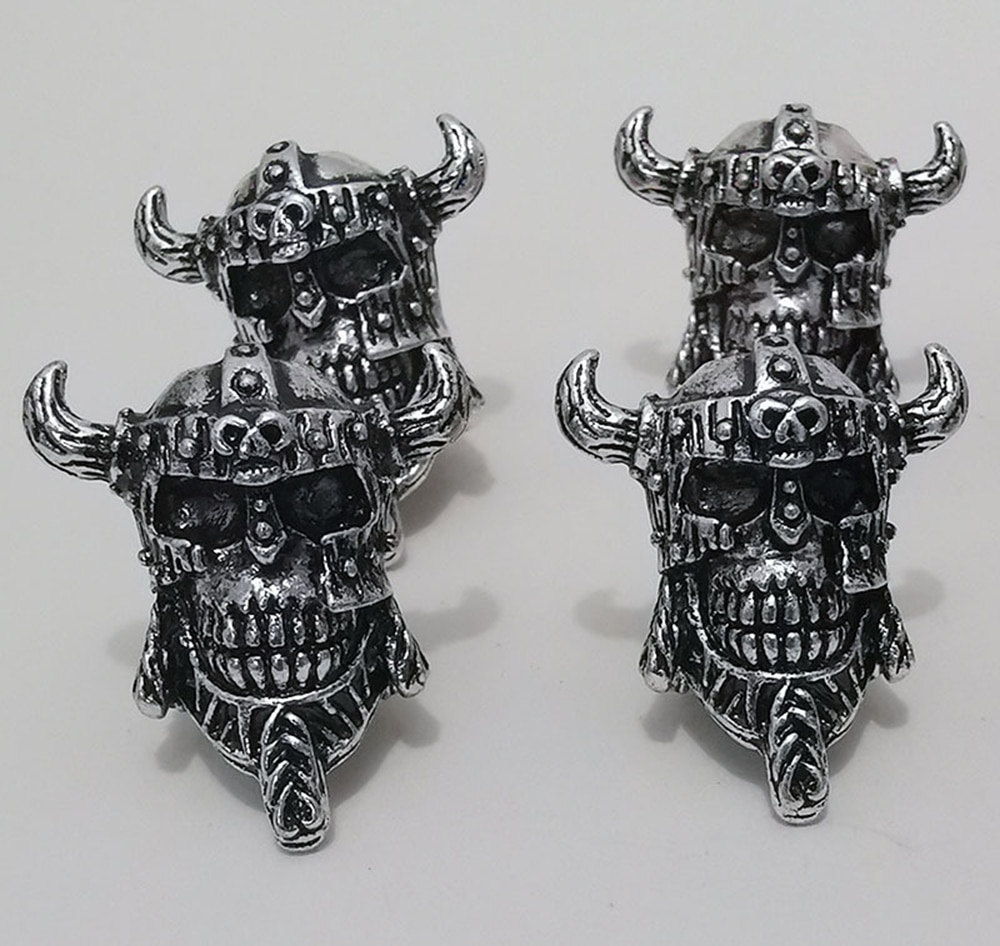 Skull warrior Helmet viking Rune hair braid Dreadlock beard beads ring Making Metal Accessories Jewe