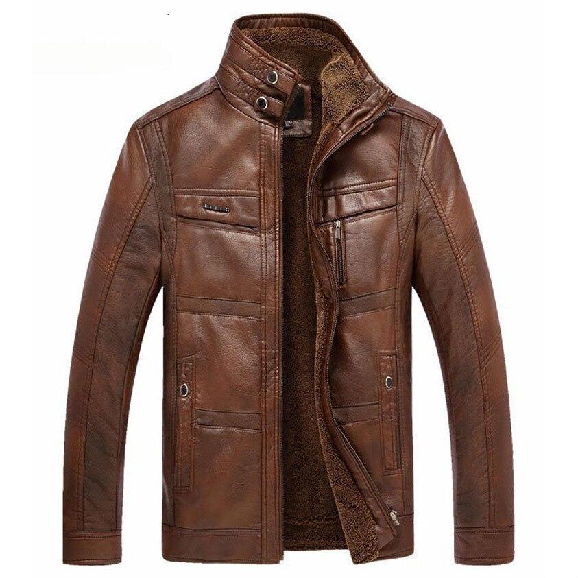 Мужская куртка из искусственной кожи, темно-синяя куртка из искусственной кожи на флисе, верхняя одежда, размеры до 5XL, зима 2020