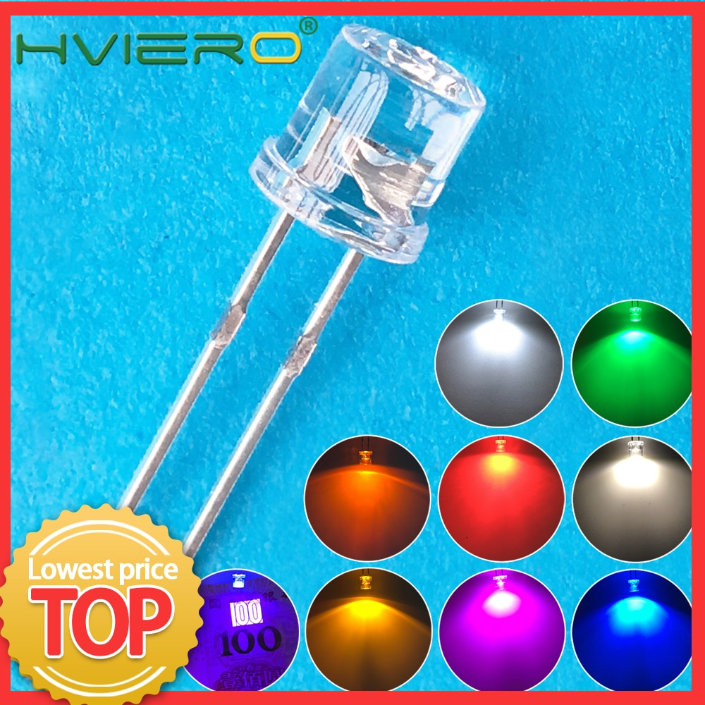 100pcs Min 5mm Flat Top White Red Pink Yellow Blue Wide Angle Light Lamp Diode LED Ultra Bright Bulbs Emitting F5