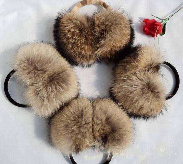 Natural Raccoon Fur Winter Big Earmuffs Women Oversize Korea Fashion Warm Real Fur Earcaps Thick Big Size Ear Cover