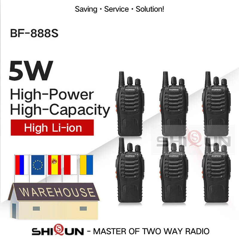 6PCS Baofeng BF-888S Walkie Talkie 888s 5W 400-470MHz UHF BF888s BF 888S H777 Cheap Two Way Radio USB Charger