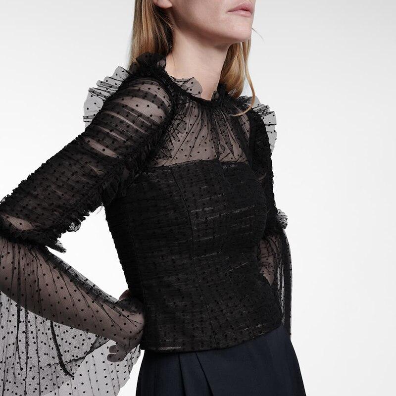 Polka Dot Patchwork Mesh Shirt For Women Stand Collar Flare Sleeve Elegant Vintage Blouse Female 2021 Fashion New Clothing Z025