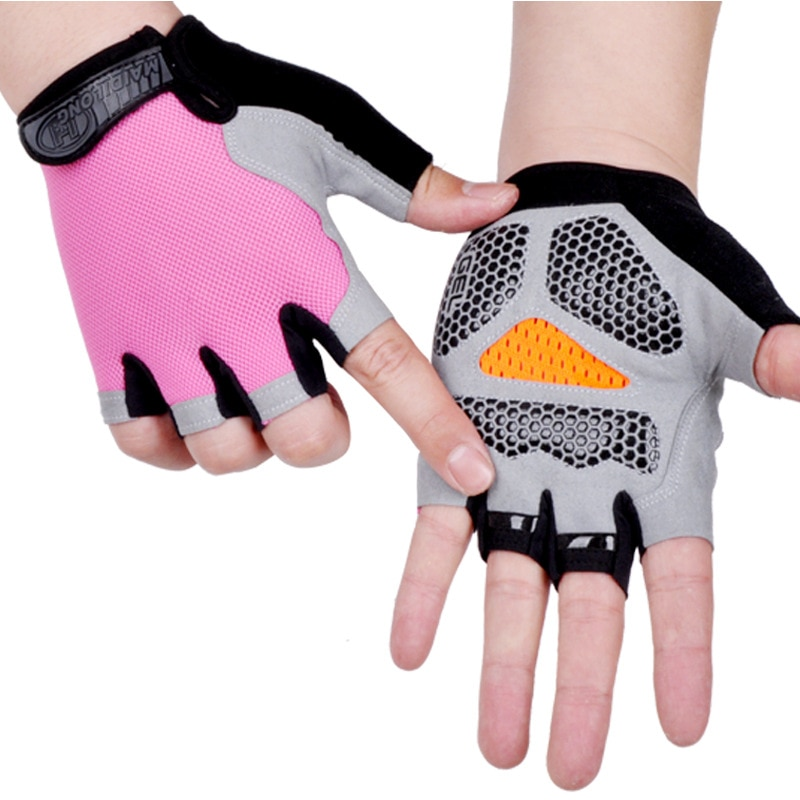Half Finger Gloves Kids Cycling Fitness Outdoor Sports Sunscreen Antiskid Pads Breathable Thin Mesh