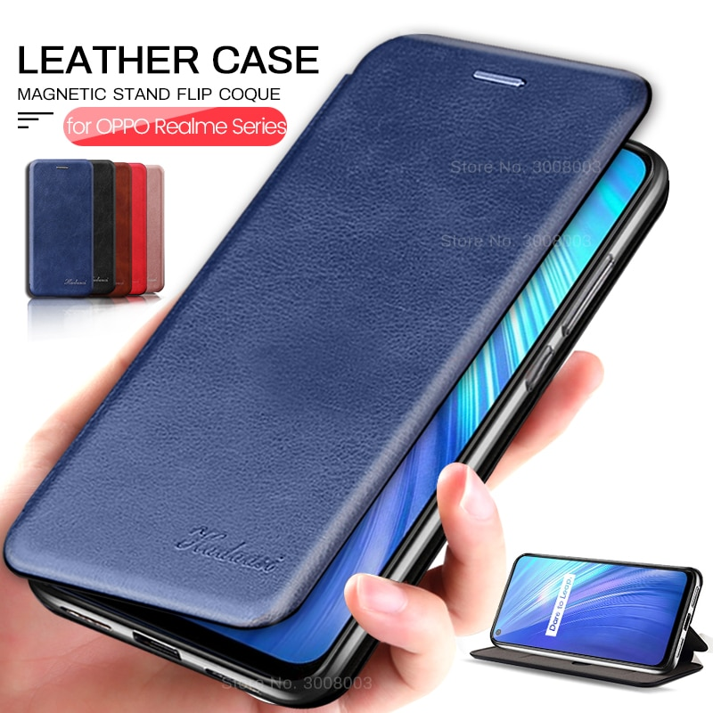 wallent leather flip case for oppo a5 a9 2020 a92 a52 case cover for realme c3 5i 6i 5 6 7 x2 pro x