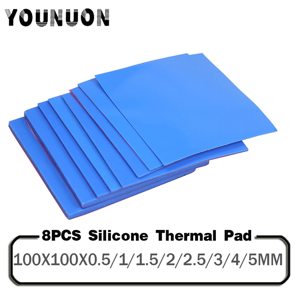 AliExpress - 8 Pieces 100x100x0.5mm 1mm 1.5mm 2mm 2.5mm 3mm 4mm 5mm Blue White Green Combination Thermal Pads Cooling Conductive Silicone