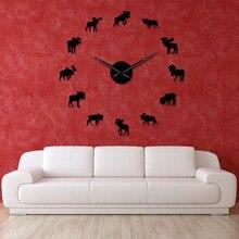 DIY Wildlife Moose Giant Wall Clock Moose Silhouette Decorative Frameless Wall Watch Modern Nature Animal Wall Art Hunting Clock