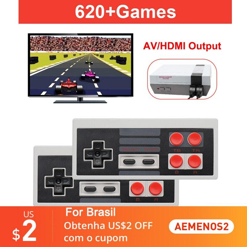 Портативная игровая консоль в ретро стиле, мини игровая консоль со встроенными классическими 500/600 играми NES для 4K TV HDMI-совместимая/AV-выход