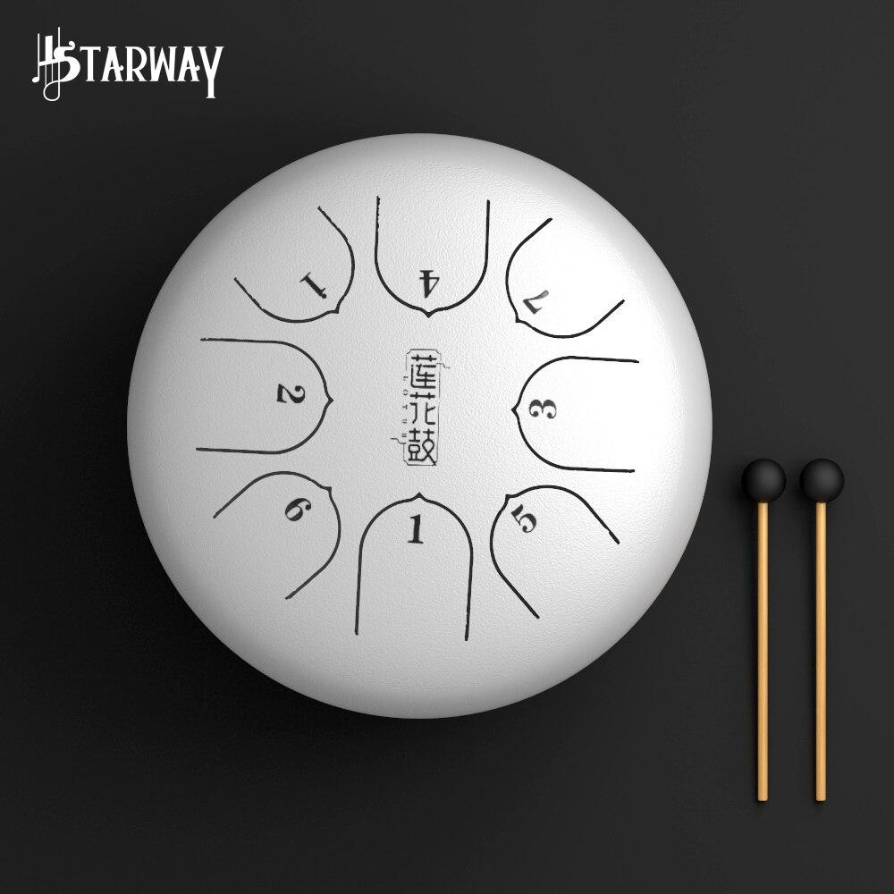 STARWAY-طبلة لسان فولاذية مقاس 6 بوصات ، 8 نغمات G Tune ، مصنوعة من سبائك التيتانيوم والفولاذ ، أسطوانة تعليق ، أداة قرع