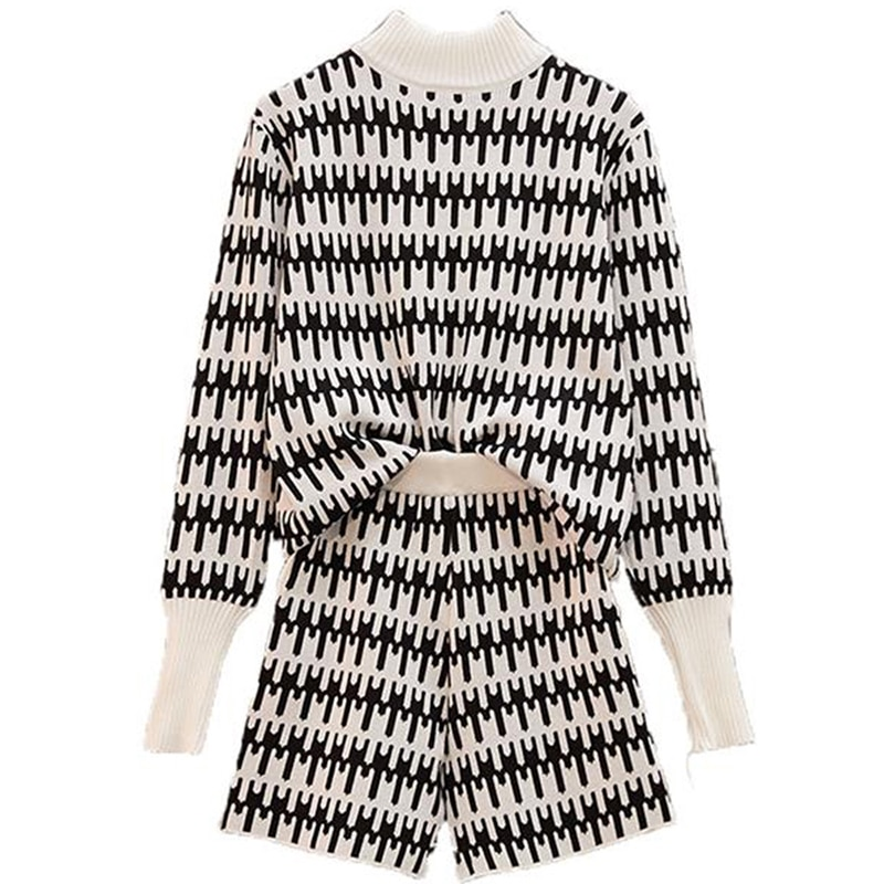 Women Vintage Plaid Knit Jumper Tops Pullovers+Wide Leg Shorts Sets Long Sleeve Sweater+Short Pants