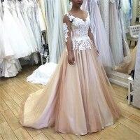 white floral lace champgane tulle satin wedding dress a line illusion long sleeve corset back bridal gowns robe de mari%c3%a9e