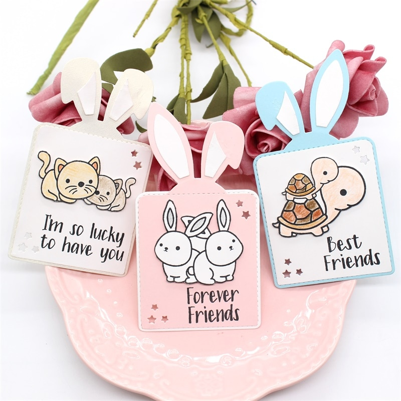 KSCRAFT Bunny etiquetas de regalo troqueles de corte de Metal para DIY Scrapbooking/hacer tarjetas/niños divertidos suministros de decoración