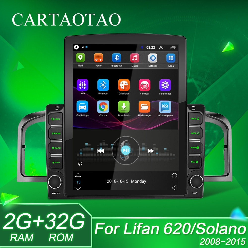 "2 din android 9.1 retrato vertical carro player multimídia de navegação de vídeo 9.7 ""tela tesla para lifan 620/solano 2008-2015 rádio"