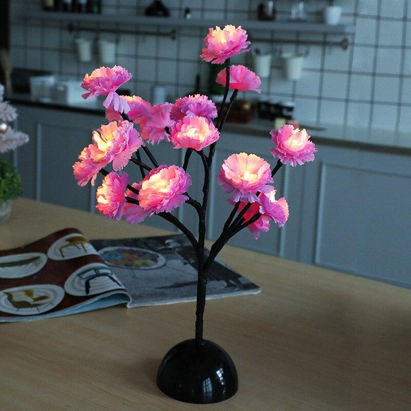 15 LED سطح المكتب مصباح طاولة الديكور زهرة نمط بطارية تعمل بالطاقة شجرة مصباح عيد الميلاد الجنية غرفة المعيشة غرفة نوم لمبة مكتب
