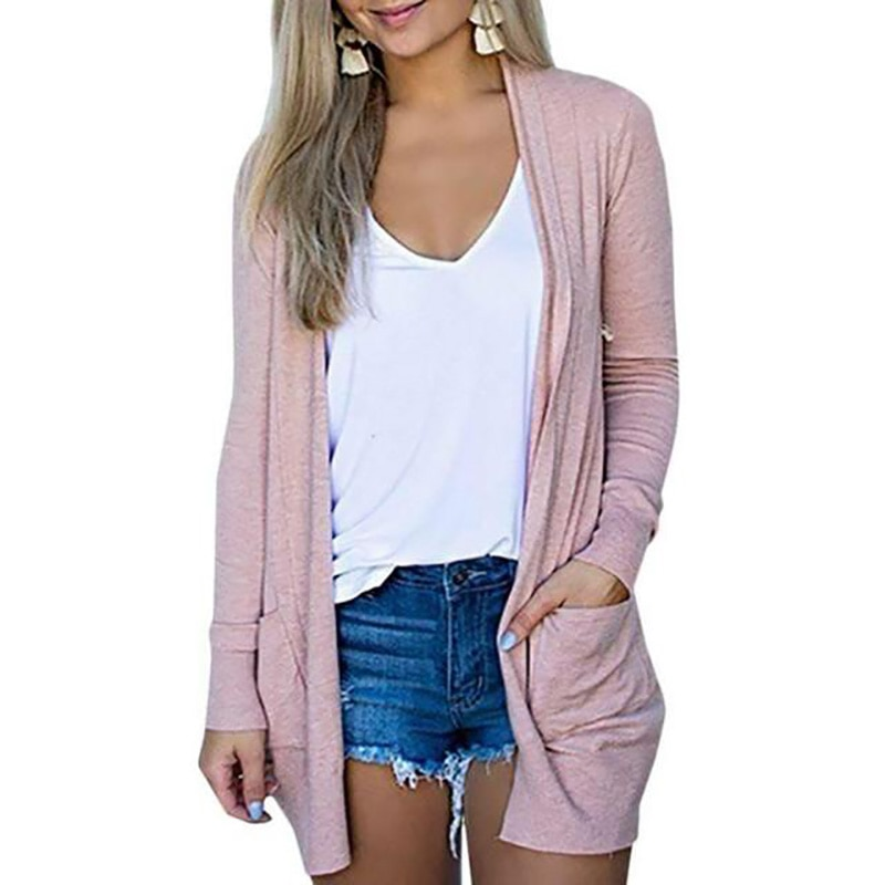 Solid Women Cardigans Long Sleeve Loose Mid Length Knittwear Casual Sweater Cardigan Female Thin Knitted Coat