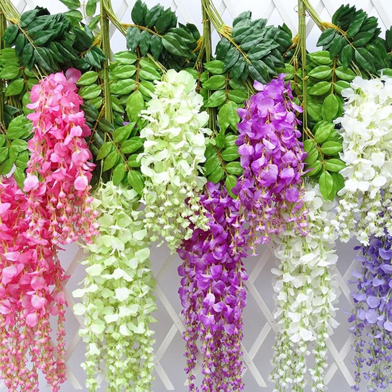 12pcs / Artificial Flower Wisteria Flower Vine Silk Wreath Arch Wedding Home Garden Flower Art DIY Living Room Office Decoration