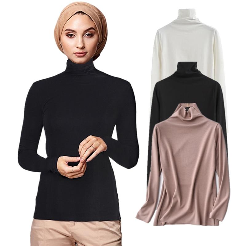 Ramadan eid mubarak muçulmano moda abaya dubai topos de gola alta roupas islâmicas gola alta blusa interior básico undershirt pulôver