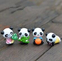 4Pcs/set Cute Cartoon Mini Panda Fairy Garden Miniatures Terrarium Figurines Ornaments Moss Micro Landscape Decor Resin Craft