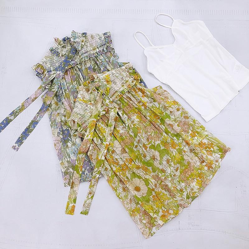 Qualidade superior blusas e topos florais 2020 verão nova babados gravata borboleta elegante estilo boho blusa shirred