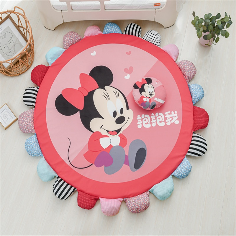cartoon soft baby play mat kids rug floor mat boy girl carpet game mat with frame baby activity mat for children educational toy Cartoon Removable and Washable Floor Mat Minnie Mickey Playmat Game Carpet Children Climbing Mat Kids Rug  Activity Mat