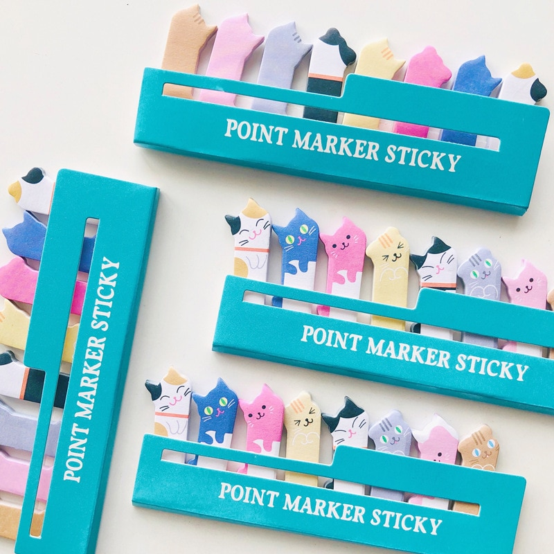 Cute Crooked Cat Mini Cartoon Animals Sit In Rows N Times Post Creative Notes Post  Notes 12g Memo Pad  Sticky Tabs creative black white cat and little carton shape sticky notes