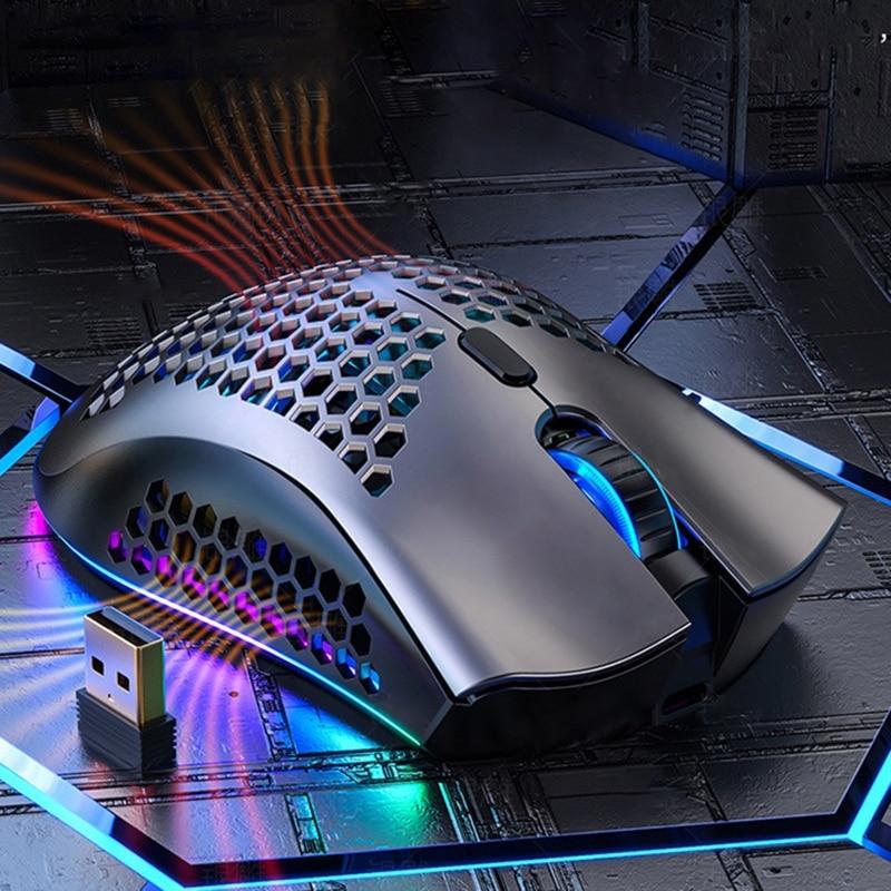 2.4Ghz 1600 ديسيبل متوحد الخواص 7 مفتاح RGB قابلة للشحن جوفاء قذيفة الألعاب ماوس لاسلكي