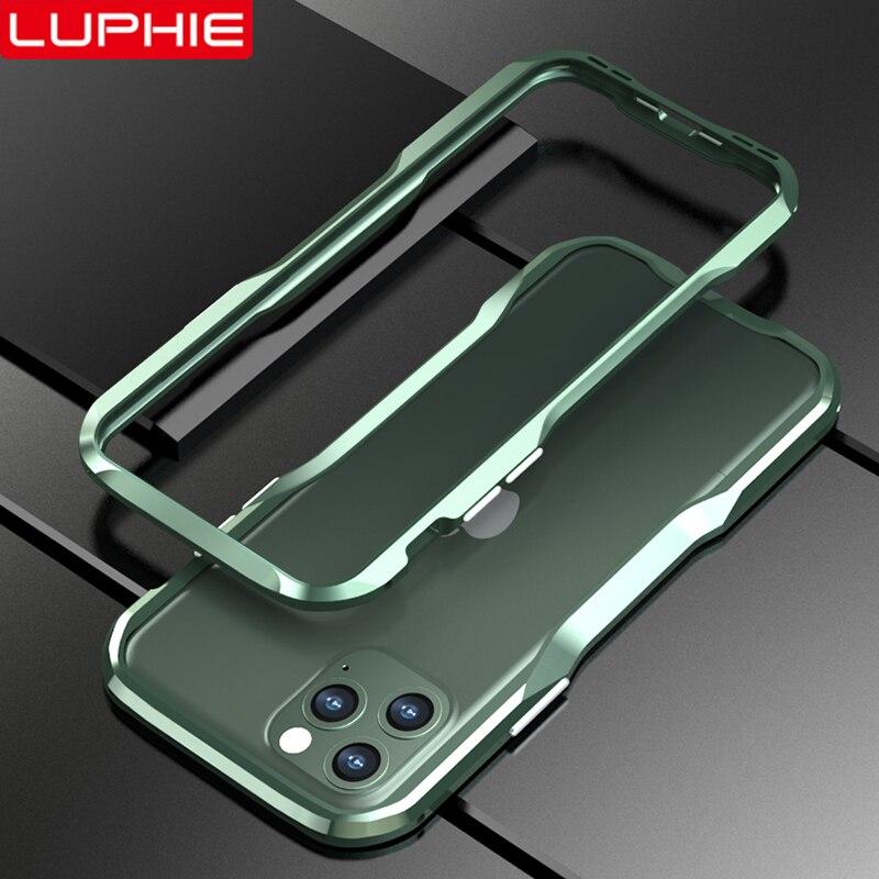 LUPHIE carcasa metálica para iPhone 11 Pro Max funda de aluminio para teléfono con marco fresco para iPhone X XR XS Max 7 8 Plus carcasa a prueba de golpes