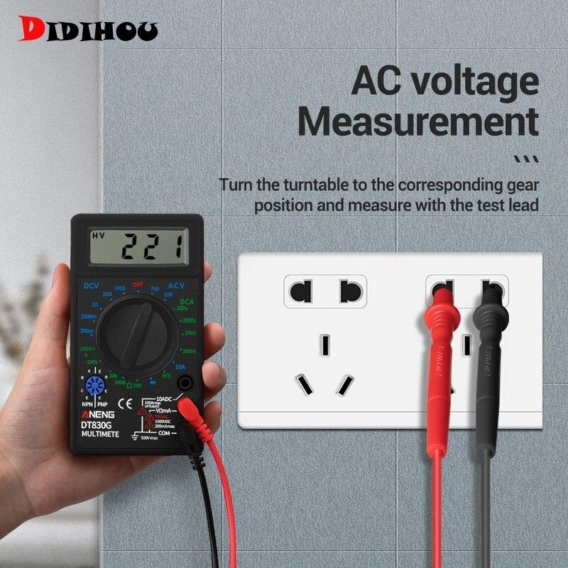 DIDIHOU multímetro Digital amperímetro voltímetro profesional DC10V ~ 1000V 10A AC 750V LCD pantalla DT830 multímetro probador