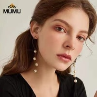 new pearl long drop earrings simple geometric pearl retro metal exquisite french earrings stitches party vacation wedding gift