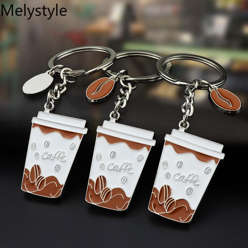 2019 Espresso-accesorios llaveros de café Mini molinillo de café con taza de leche llavero de café amantes del regalo