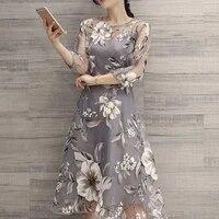 women dress summer o neck polyester 34 mesh sleeve floral print large swing double layer midi dress s 2xl light gray dresses