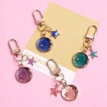 2020 mignon lune étoile porte-clés haute qualité acrylique bibelot clair métal porte-clés voiture sac pendentif pour les femmes D427