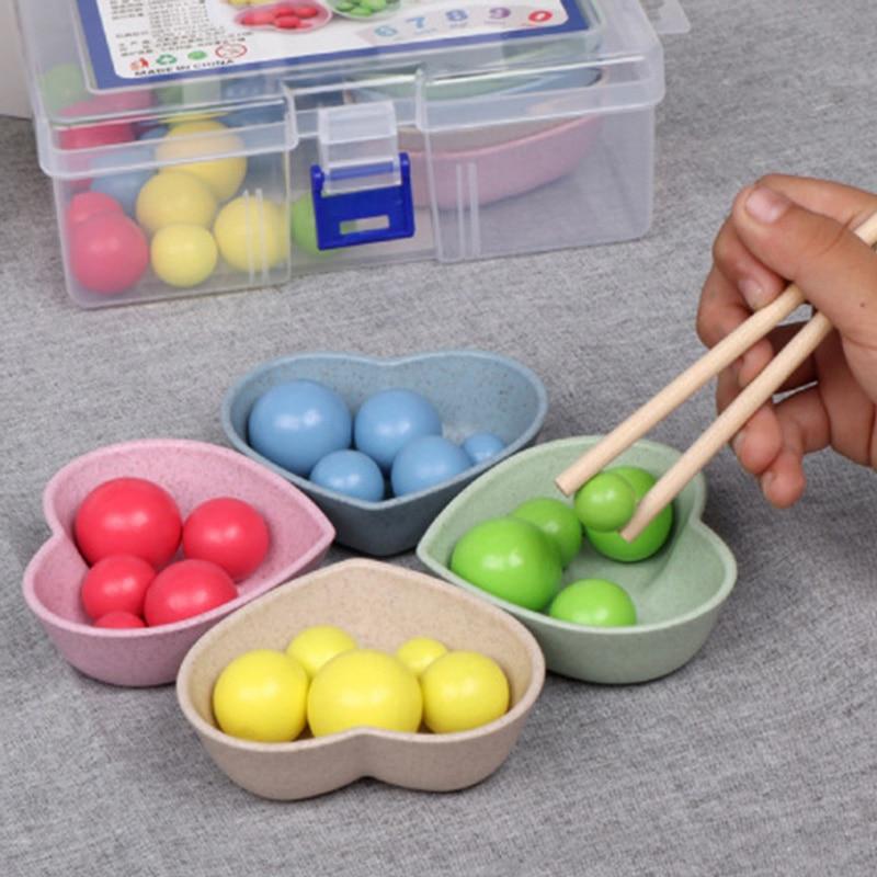 Kids Chopsticks Pratice Game Bean Clamping Intellectual Traning Toy Educational NSV775