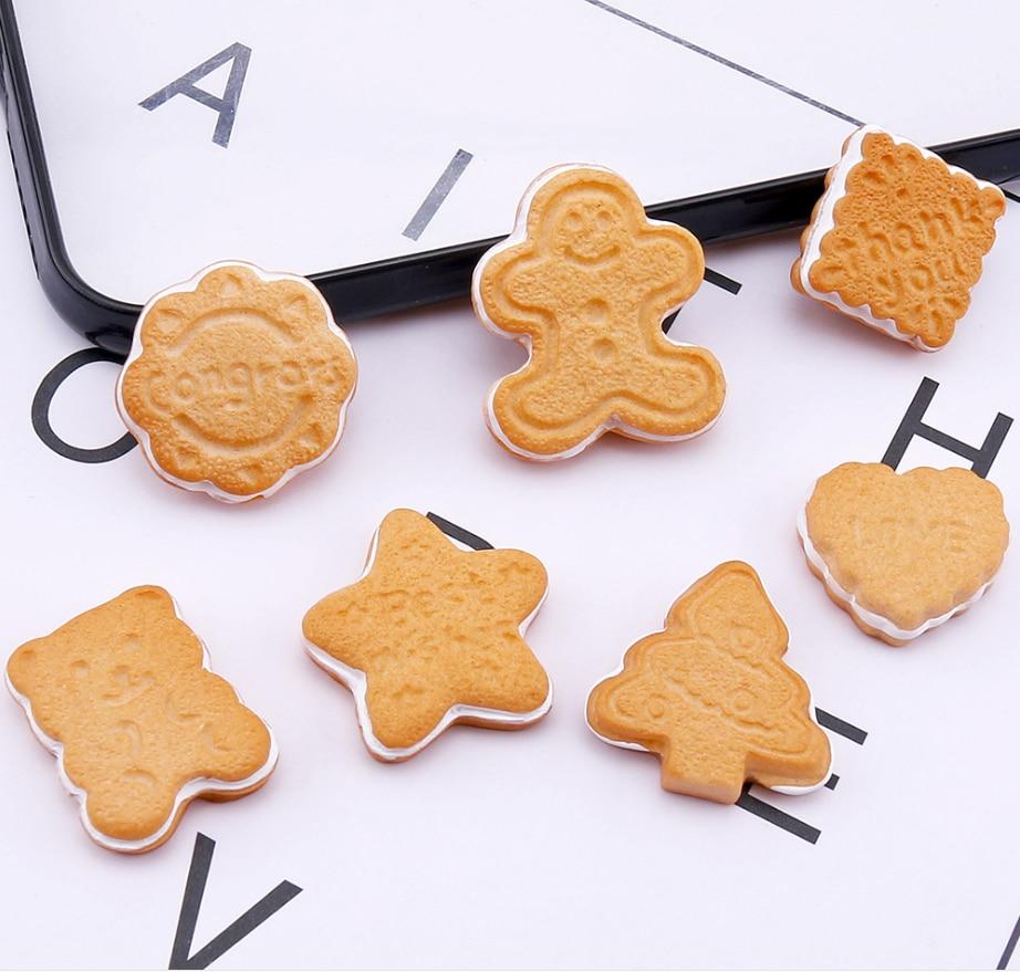 Decoración de galletas bonita de resina artesanías Flatback oso Kawaii corazón galletas cabujón álbum de recortes DIY adornos Accesorios