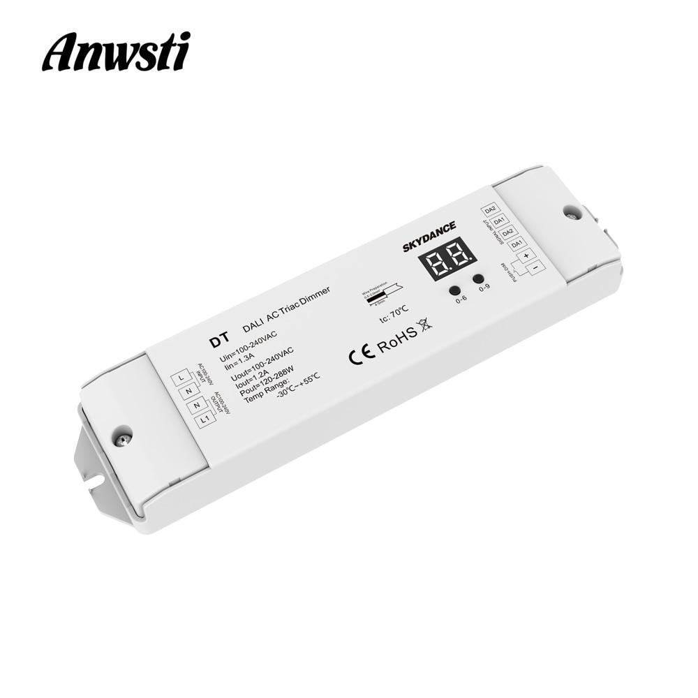 Triac دالي باهتة 220 فولت 110 فولت 230 فولت التيار المتناوب 1 قناة 1.2A 288 واط عرض رقمي لمصباح LED أضواء الهالوجين DT DALI التيار المتناوب التيرستورات LED باه...
