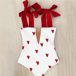 2021 New Sexy One Piece Swimsuit Shoulder Strappy Swimsuit Heart print Swimwear Women Backless Bathing Suit Beach Wear Monokini