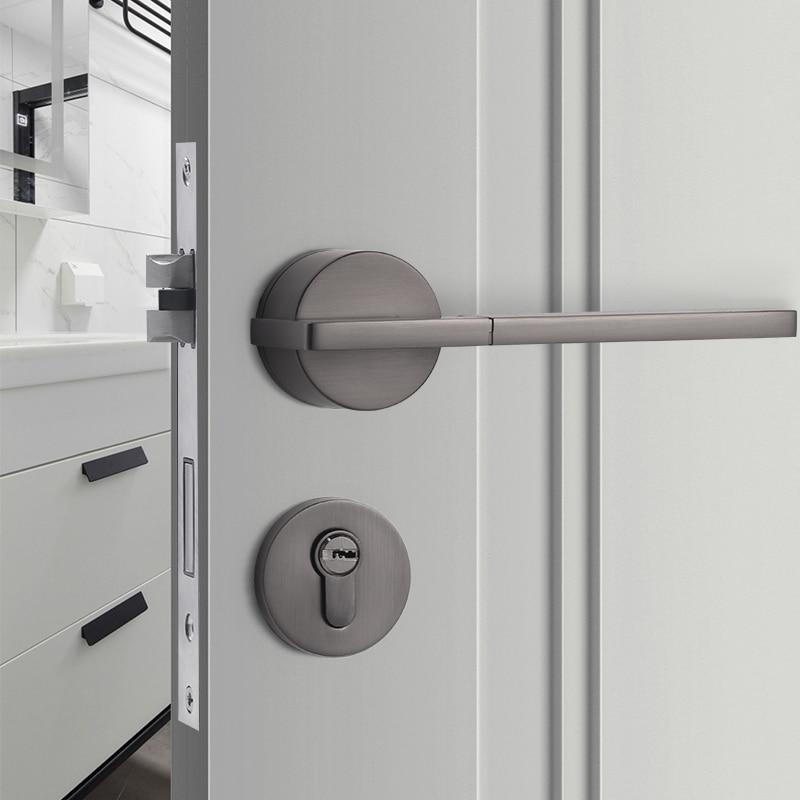 الحديثة عالية الجودة شقة قفل الباب داخلي سبائك الزنك Lockset غرفة نوم باب أمان مقبض قفل الأثاث لوازم الأجهزة