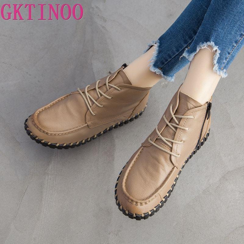GKTINOO-حذاء نسائي من الجلد الطبيعي بنمط عتيق ، حذاء مسطح ناعم من جلد البقر ، 2021