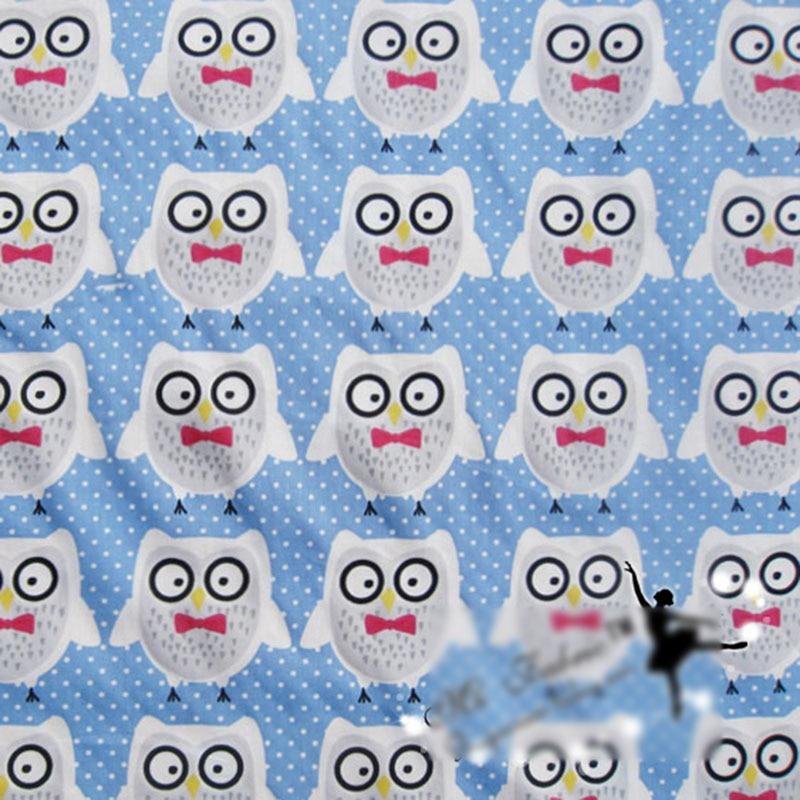 Tela de algodón Kawaii Bow Owl telas impresas para coser Patchwork tela Scrapbooking DIY ropa vestido Material