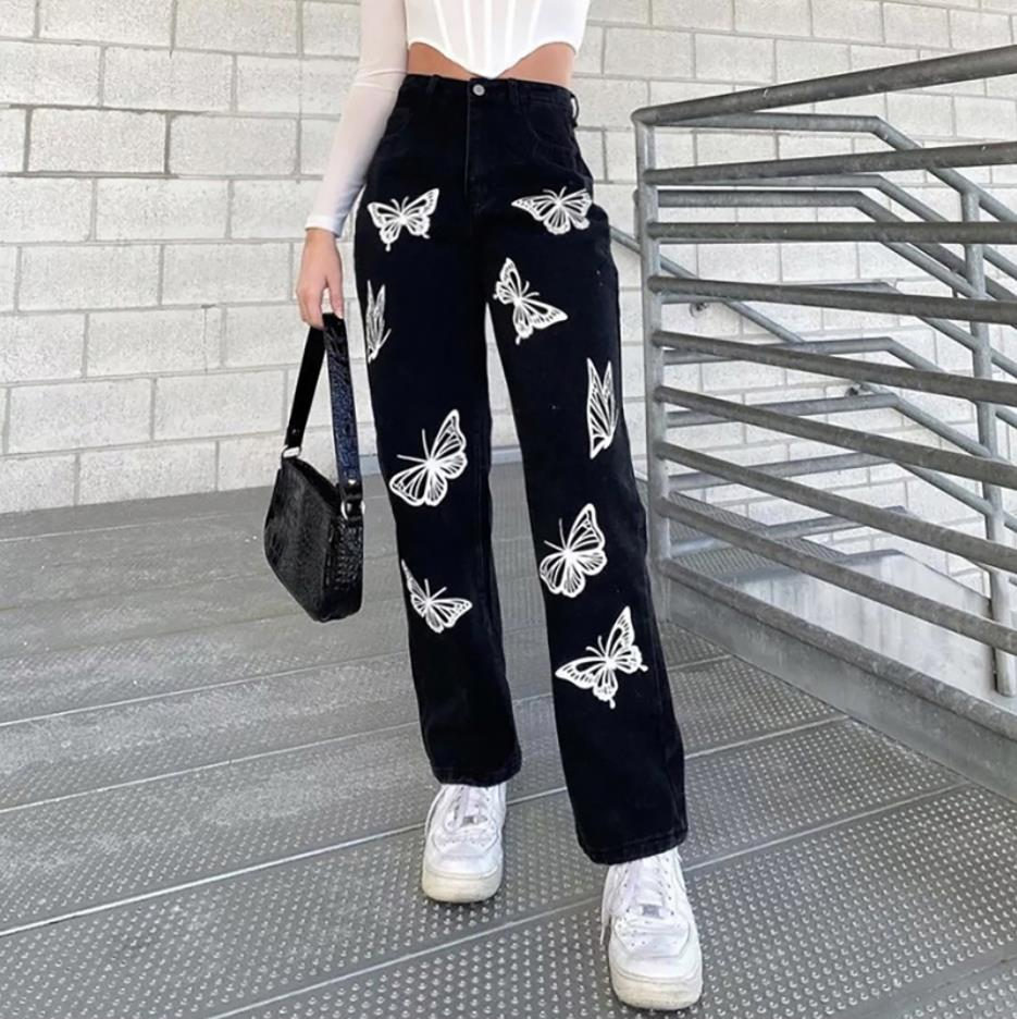 2021 New Women Fashion High Waist Print Jeans Ladies Casual Stylish Pants Outfits for Shopping Daily